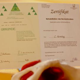 Diplom Lymphdrainage, Zertifikat Beckenbodentherapie (Harninkontinenz)